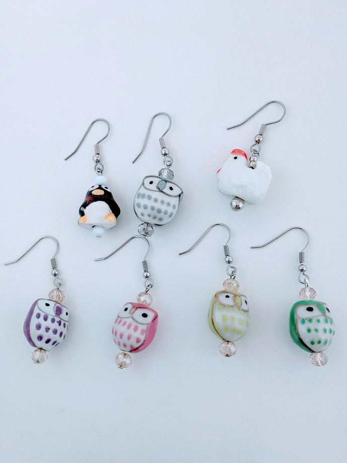 Ceramic Critters Earrings - One Pair