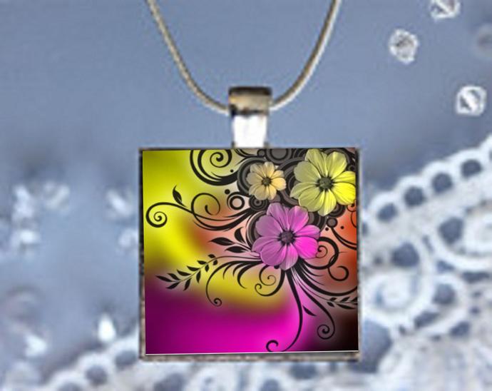 Pendant Necklace Floral