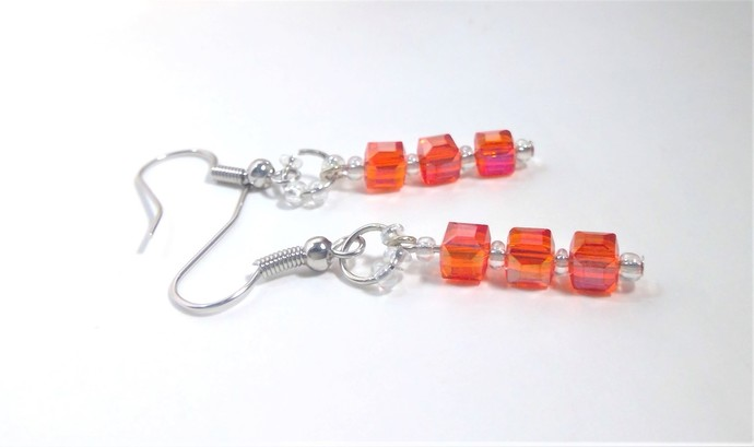 Red ab irredescent Crystal Cube Earrings Handmade