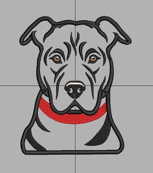 Pit bull dog head. Applique embridery file in sizes 5x7 8x8.