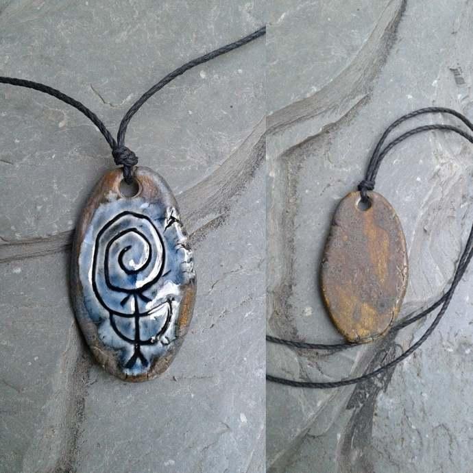 Chaco Fajada Butte Petroglyph Pendant Ceramic Blue Bronze Native American Rock