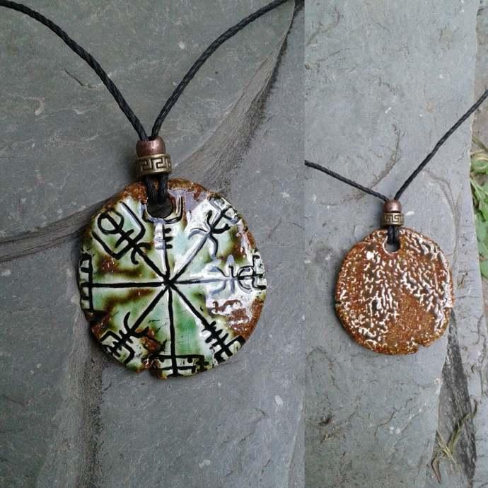 Vegvisir Necklace Green Moss Ceramic Icelandic Runic Compass Galdrastafur