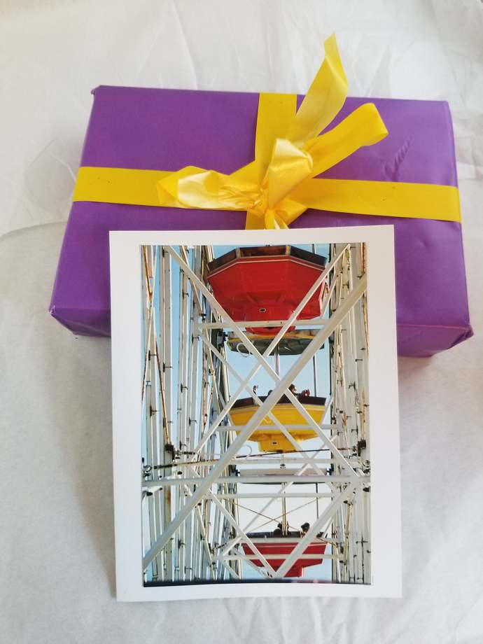 Greeting Card * Personalized Text * Ferris Wheel * Santa Monica * Photo Card *