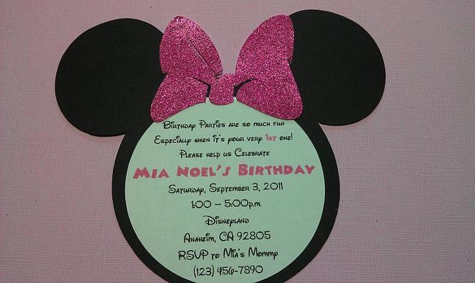Handmade Minnie Mouse Birthday Invites Gamiboutique