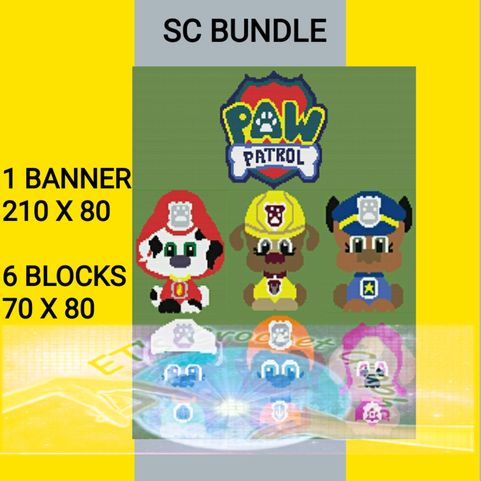 Paw Patrol - Pup Bundle 7 Patterns includes Graphs with Written Color Chart