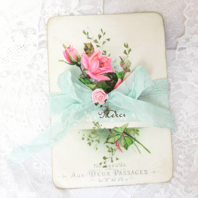 Pretty Pink Roses and Aqua French Merci Note Cards, Set of 6 Shabby Pink Roses