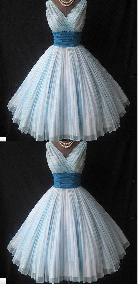 Off the Shoulder Light Blue Homecoming Dress,V Neck Ruffles Short Prom