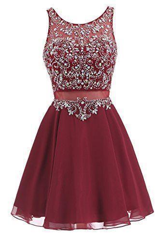Elegant Burgundy Chiffon Short Homecoming Dress with Beading