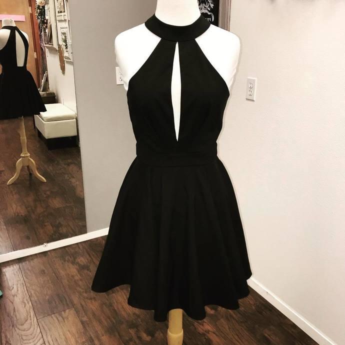 Sexy Sleeveless Black Short Party Dress, Black Satin Homecoming Dress