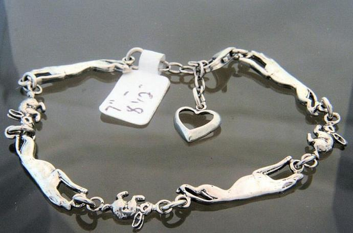 Every greyhound needs a bunny sterling silver 2-D bracelet 7 to 9 inches