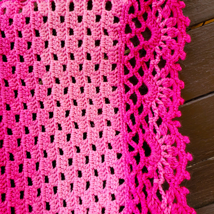 Hand-Crocheted Baby Blanket, Variegated Pink