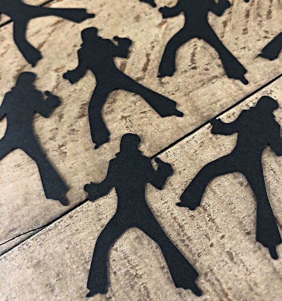Elvis Silhouette Table Confetti ~ The King of Rock theme parties ~ Elvis