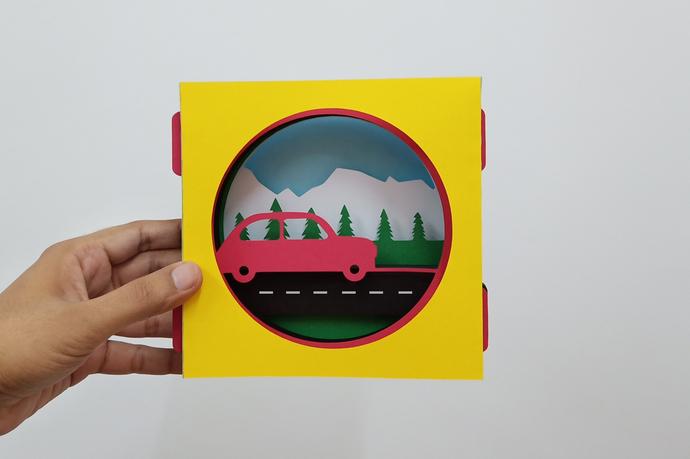 Road trip 3d tunnel card,Shadow card,DIY Card,Vector Card,Svg Card,Dxf