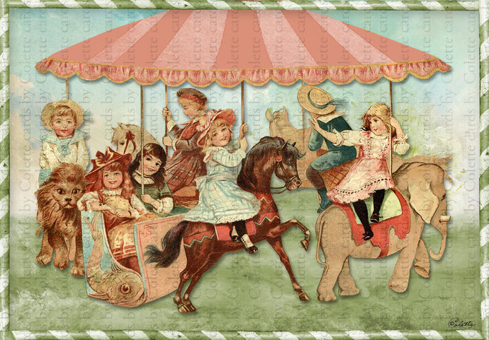 Children Riding the Carousel Greeting Card2366