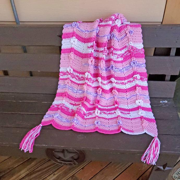 Baby Crochet Ripple Afghan, Pink