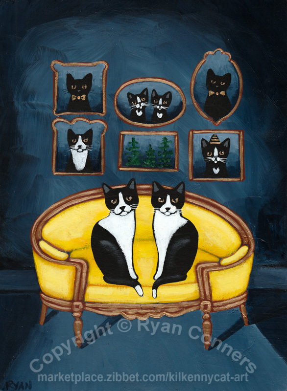 Tuxedo Cats and the Yellow Settee Original Cat Folk Art Painting