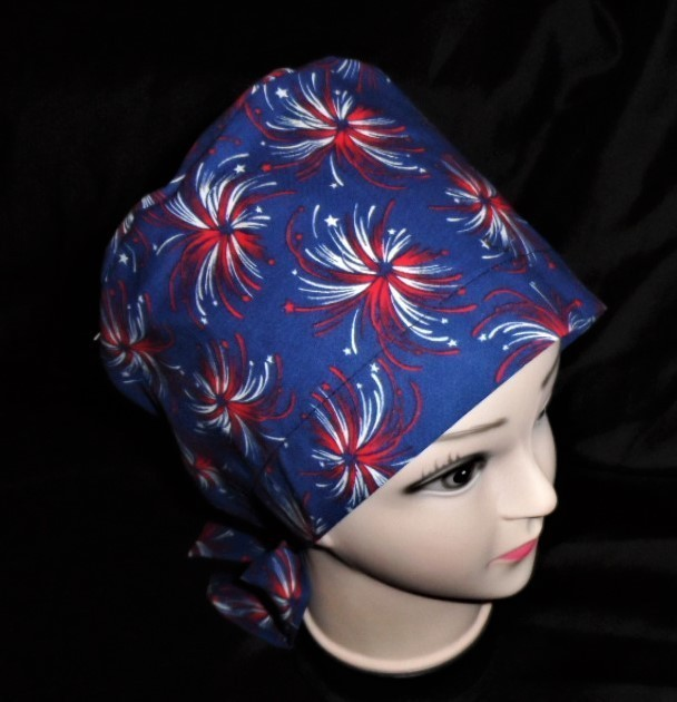 Nurses Ladies Surgical Scrubs Scrub Hat Cap Cancer Recovery Chemo Caps Fireworks