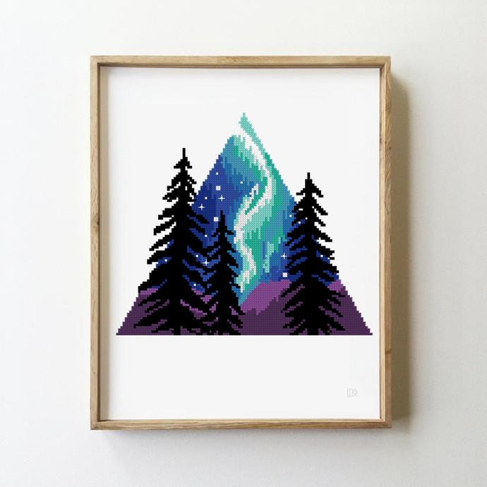 Northern Lights cross stitch galaxy trees camping nature modern landscape