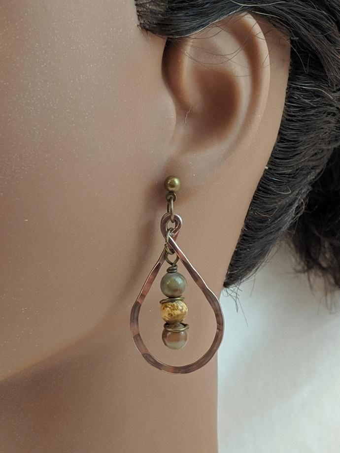 Antique Gold Aluminum Teardrop Earrings w/Stone Beads