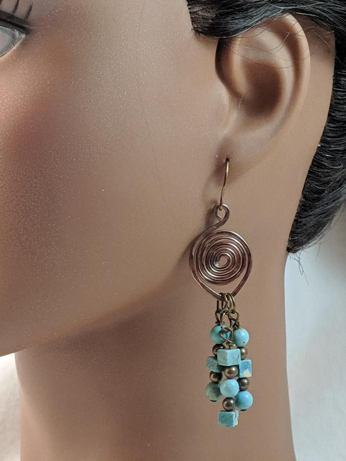 Antique Bronze Swirl Aluminum Earrings w/Turquoise and Bronze Dangles