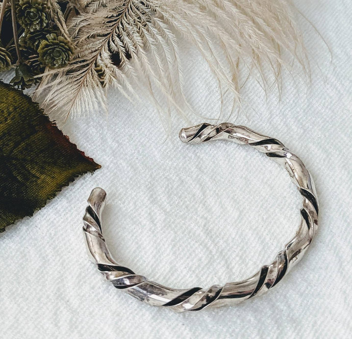 Vintage Native American Sterling Silver Twisted Cuff Bracelet