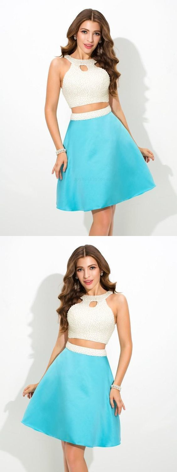Sleeveless Homecoming Dress, A-Line Prom Dresses, Two Pieces Homecoming Dress