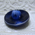 Shave Top, White Blue Cased Glass Button Vintage 1950's, taken from orig. card