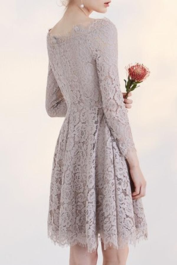 Temperament Long Sleeve Off-shoulder Lace Homecoming Dress,Short Prom Gown