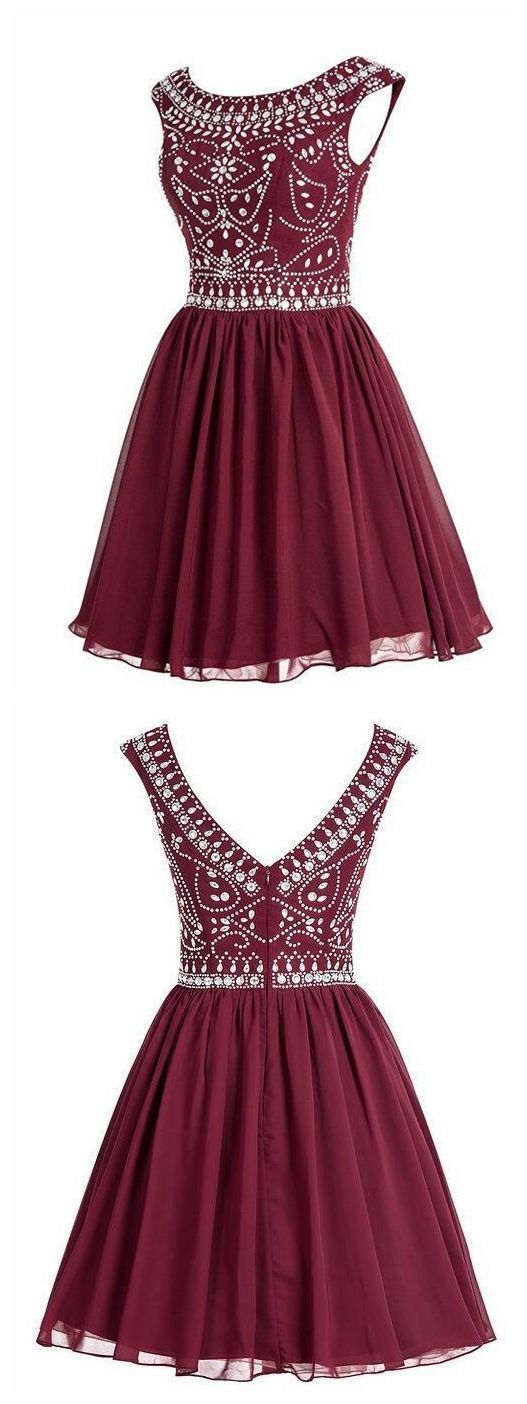 Fashion Burgundy Tulle Beading Short Homecoming Dress, A Line Party Dress