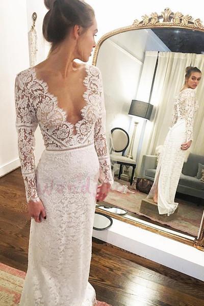 Charming Deep V neck Lace Mermaid Wedding Dress, Sexy Long Sleeve Slit Bridal