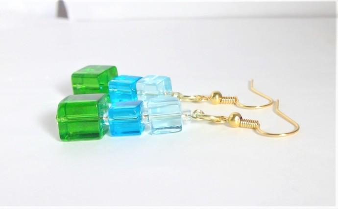 Dangle Cube Earrings Glass Green Blue Hypoallergenic Handmade Jewelry