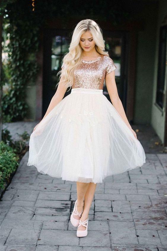 Cap Sleeve Gold Short Prom Dress, A Line Homecoming Dress