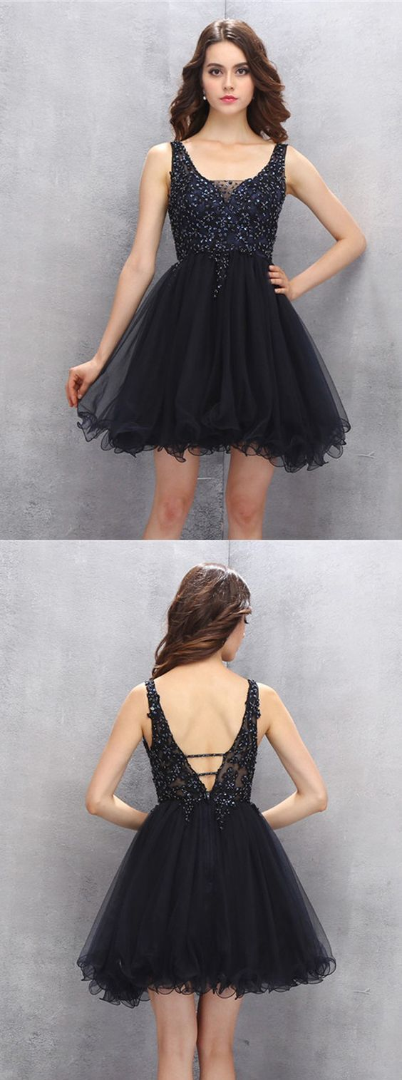 A-Line Scoop Short Black Tulle Homecoming Dress with Beading Appliques