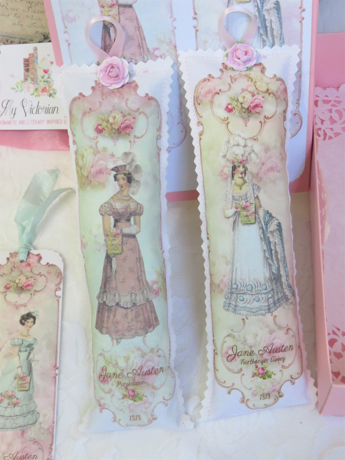 Jane Austen Persuasion and Northanger Abbey Lavender Sachet Set with Bookmark in