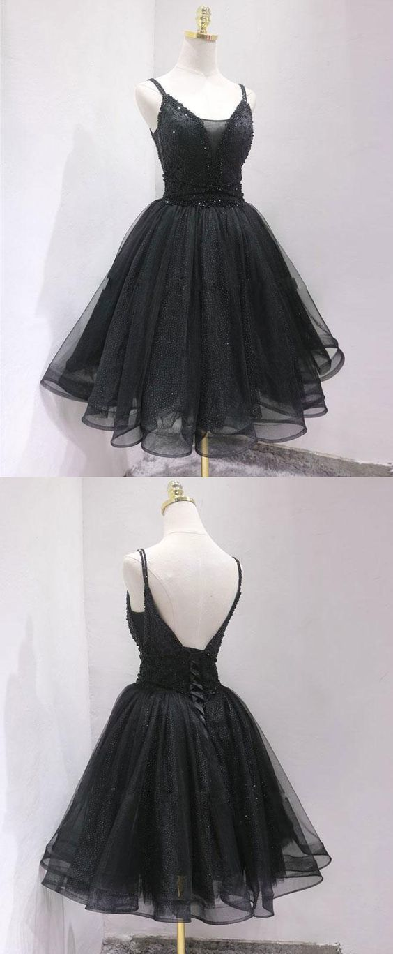 Fashion Black Tulle Short Homecoming Dress, Straps Open Back Party Dress
