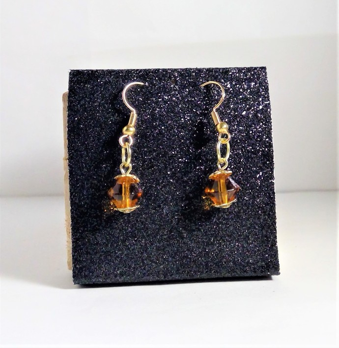 Swarovski Crystal Gold-Tone Bicone Earrings Handmade Jewelry Hypoallergenic
