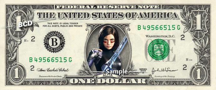 ALITA Battle Angel on a REAL Dollar Bill Cash Money Collectible Memorabilia