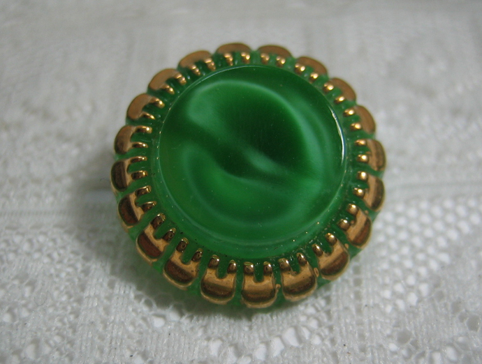Vintage Green Glass with Gold Luster Moonglow Button 1950's