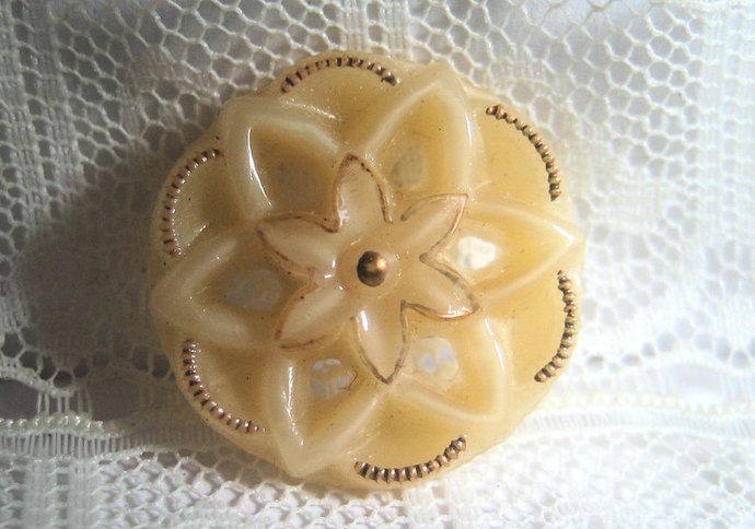 Openwork Pierced Tan Brown Glass Button