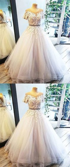 White round neck tulle lace long prom dress, white evening dress