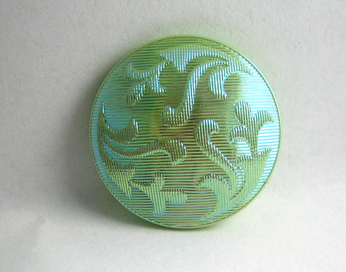 SALE Medium Size Green Glass Imitation Fabric Button with Luster