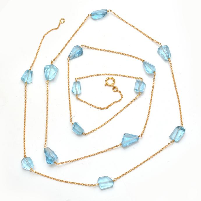 Fine Sterling Silver Blue topaz Semi Precious stone Chain 40 inches Jewelry
