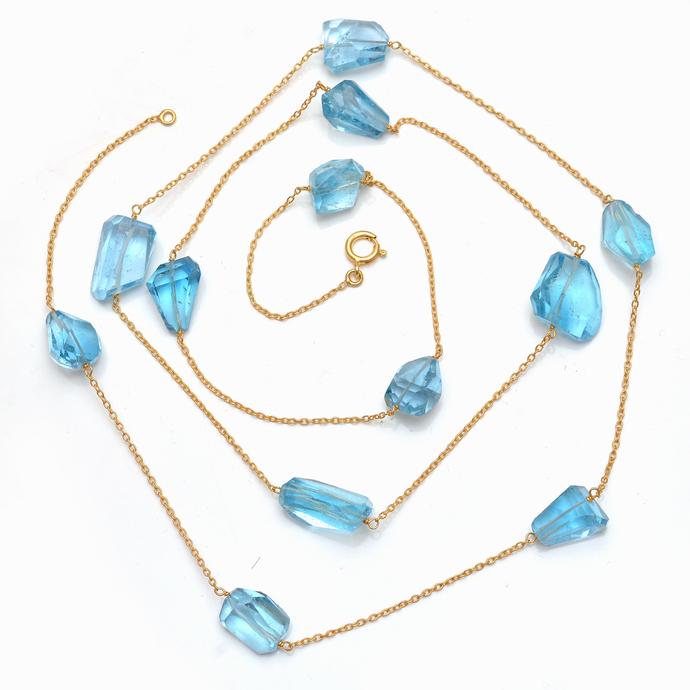 925 Solid Sterling Silver Blue topaz Semi Precious stone Chain  46.91 Gms