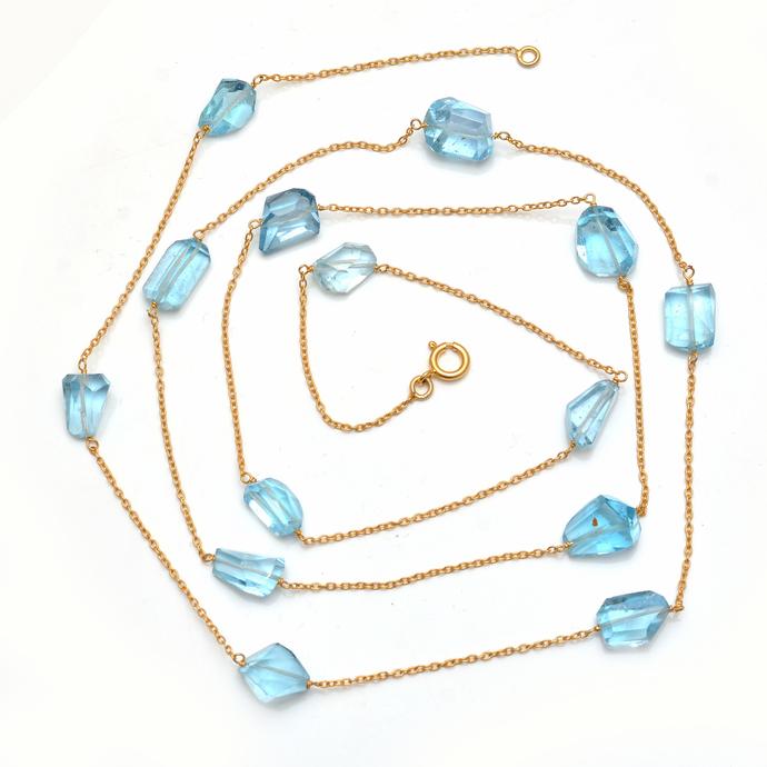 Fine Sterling Silver Blue topaz Semi Precious stone Chain 30.28 Gms 40 inches