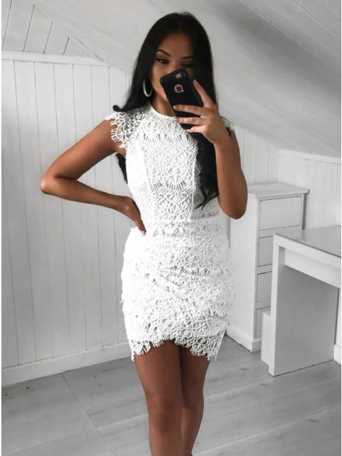 Sheath Tight Jewel White Lace Tulip Short Homecoming Dress,AP716