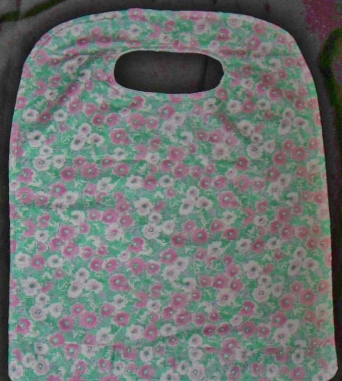 Soft Pastel Flowers Handmade Ladies Adult Bibs With Crumb Catcher Accessories