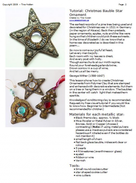 Bauble Star Ornament Polymer Clay Tutorial - Faux or Imitative Metal Technique