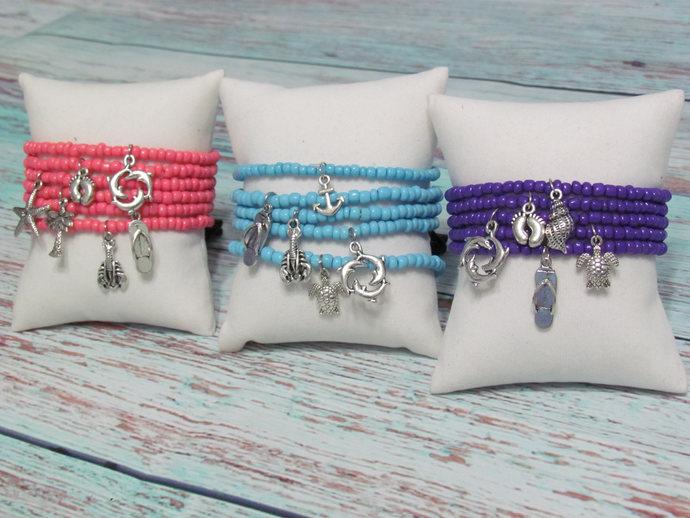 Stretch Charm Bracelet, Beach Bracelet, Summer Charm Bracelet