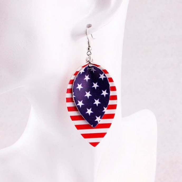 American Flag Leather Earring, Leather Teardrop, Independence Day Statement