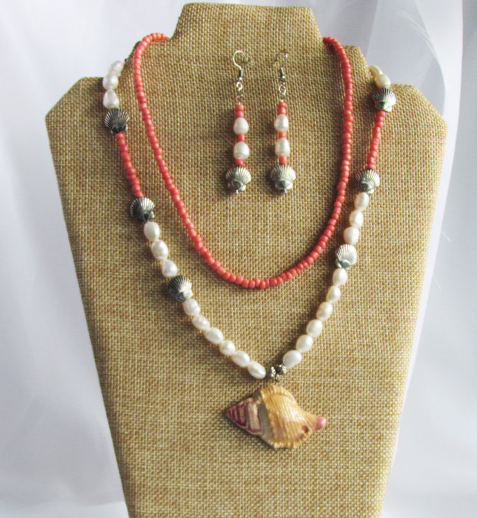 Necklace and Drop Earrings. Coral Ceramic Conch Shell Pendant with Pearls.